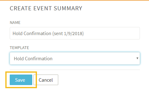 creating event summaries hold confirmations and other documents