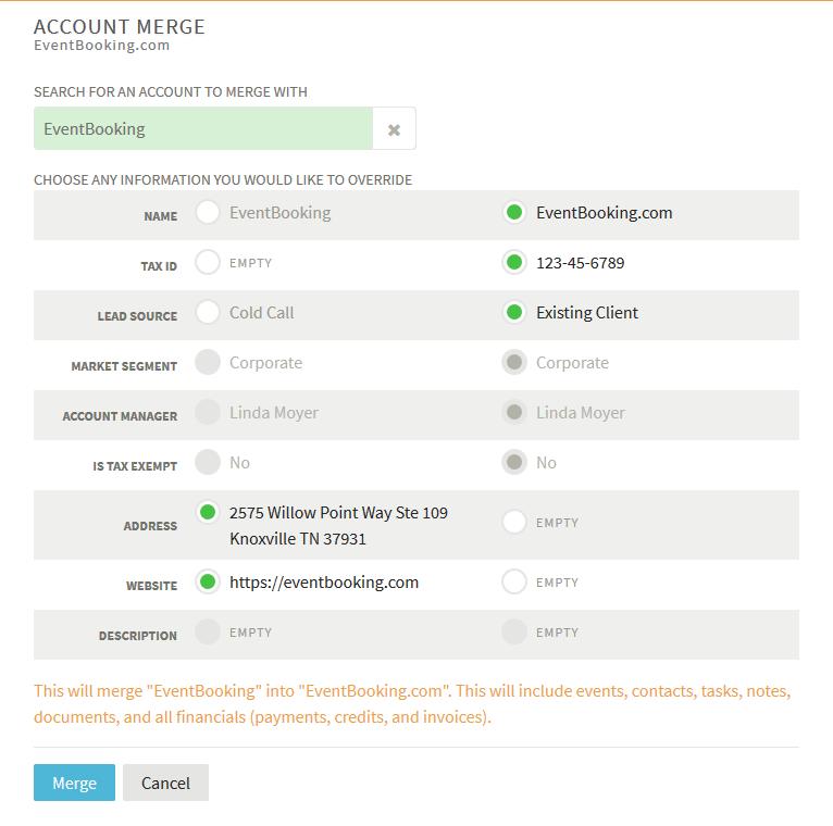 Merging Duplicate Accounts - VenueOps